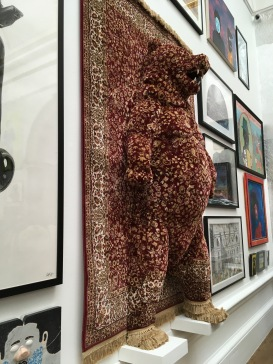 Red Bear, carpet and mixed media, by Debbie Lawson