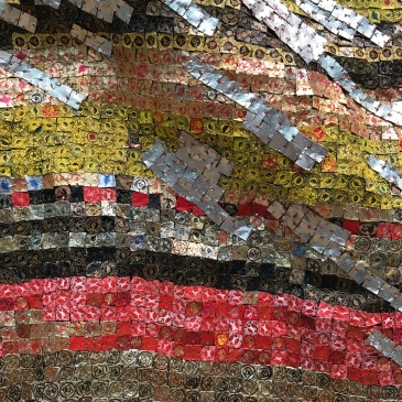 Detail from Change in Fortune,by El Anatsui aluminium and copper