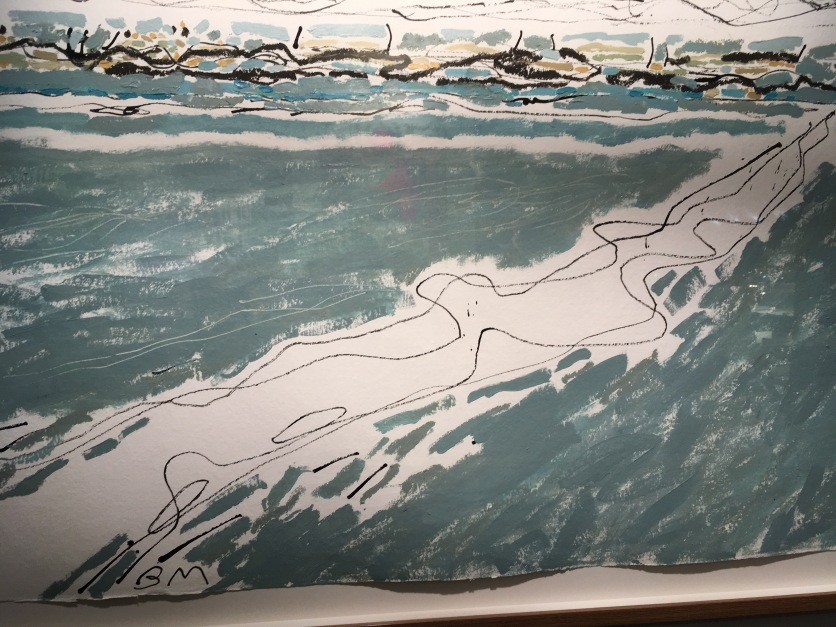 Barbara Macfarlane, Sand Dunes, ink and oil on khadi paper at Rebecca Hossack.