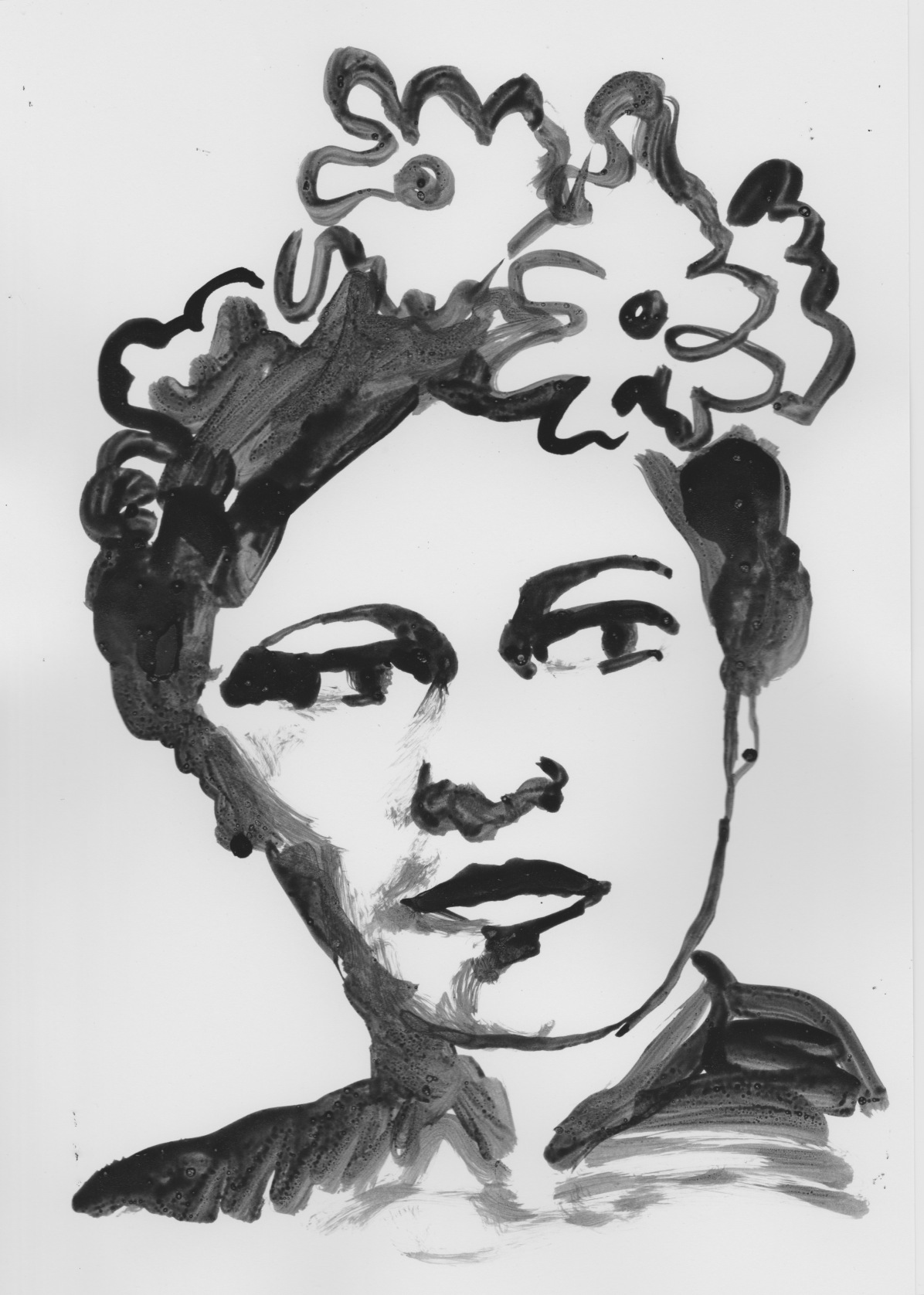 Billie Holiday, ink drawing by Ros Freeborn