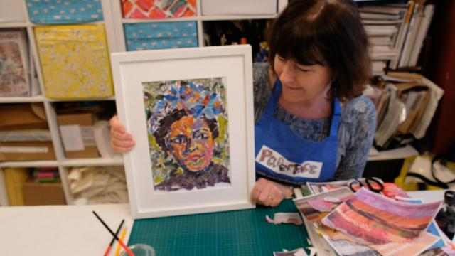 Ros with finished portrait of Billie, wide shot