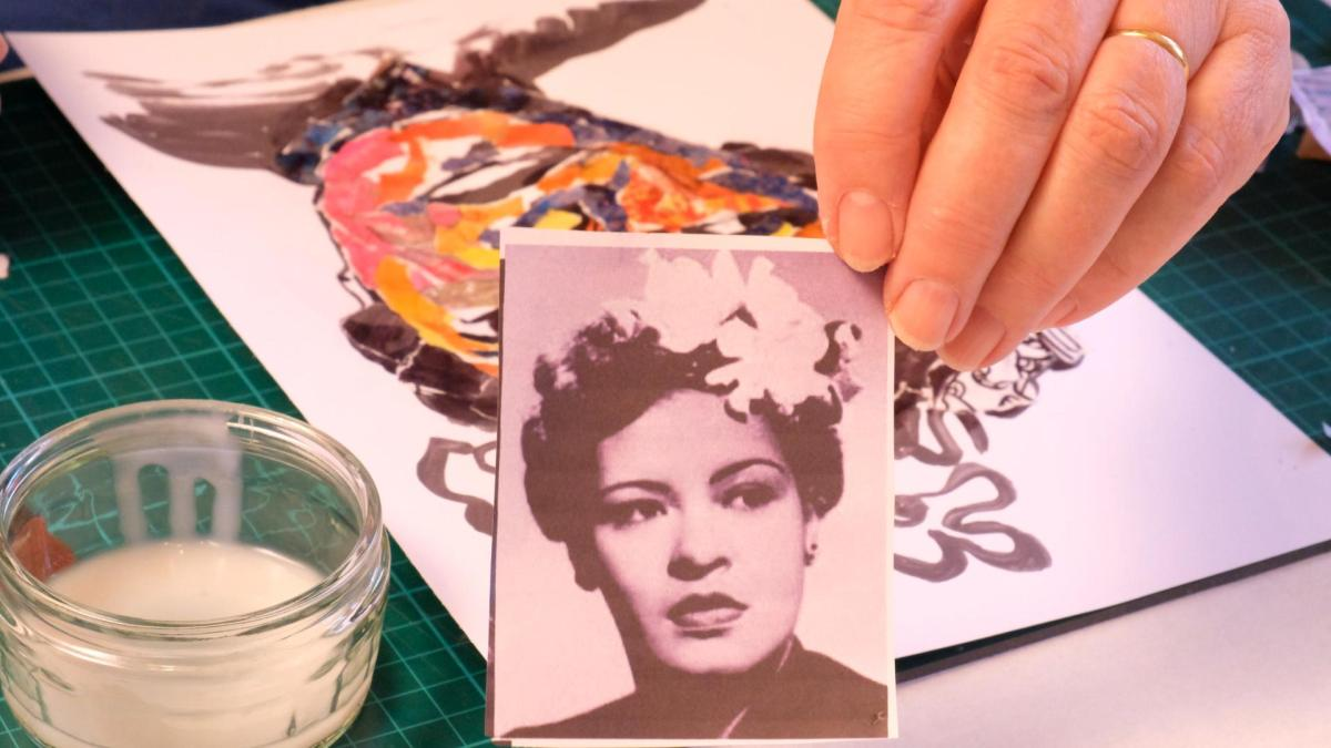 Ros working on paper portrait of Billie Holiday